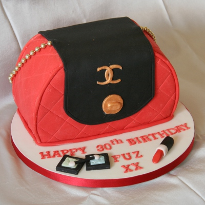 30th birthday novelty cake: Chanel handbag