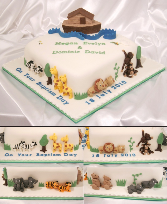 Christening cake: Noah's Ark and animals