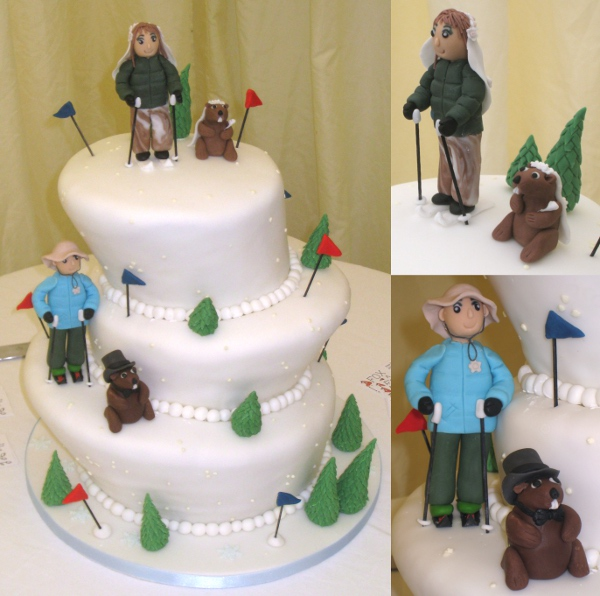Novelty wedding cake with skiers and marmots