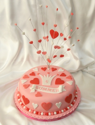 Birthday cake with pink hearts
