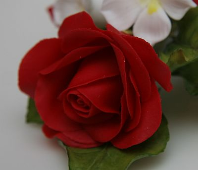 Sugar flower detail (red rose)