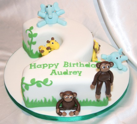 Zoo animals cake - monkeys, elephants, giraffes
