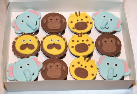 Zoo animals cupcakes - monkeys, elephants, giraffes